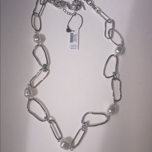 WHBM Silver Glass Pearl Link Long Necklace - NWT